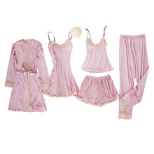 JULY'S SONG, 5 шт., бархатный пижамный комплект, Женская Сексуальная кружевная Пижама, Пижамный костюм, зимняя теплая ночная рубашка на бретельках...(Китай)
