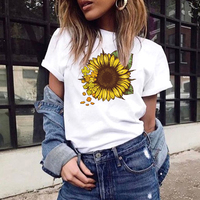2020 Fashion Slim Fit Cute Girl's T-shirts Fashion Graphic Tees Women Colored Cactus T-shirt