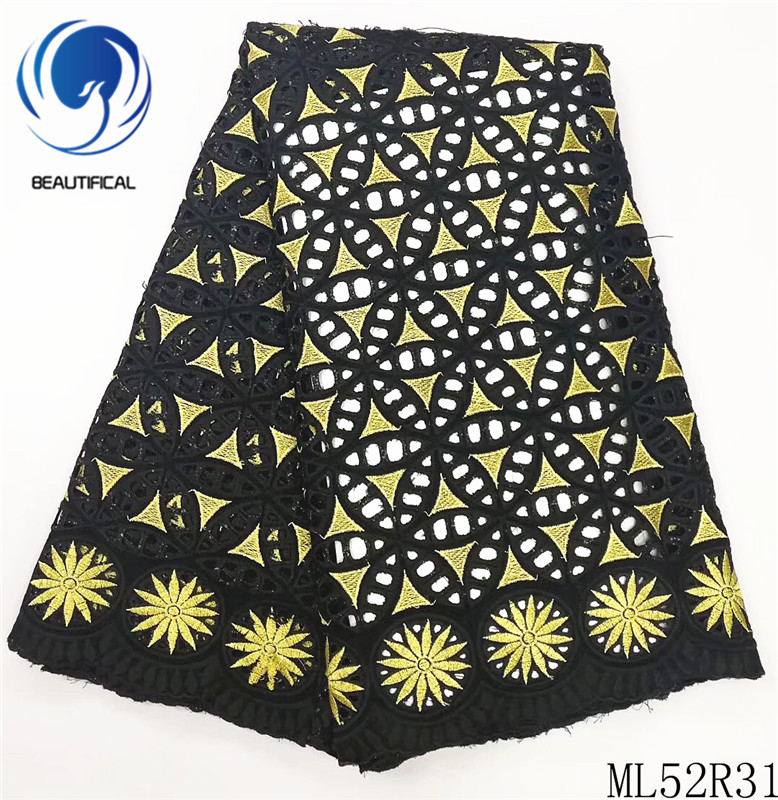 Beautifical 100% cotton lace fabric black african lace fabric ankara lace fabric 5yards for party dresses ML52R31