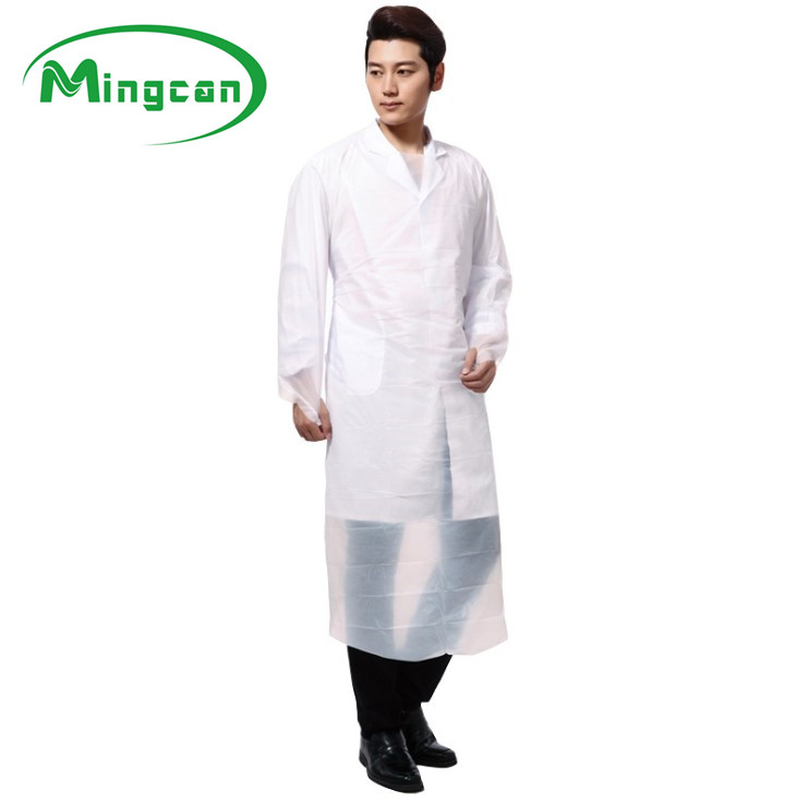Disposable plastic protective waterproof cpe blue aprons with sleeves