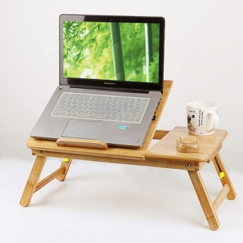 Custom bamboo computer bed desk multifunction wooden folding laptop table with cheap price