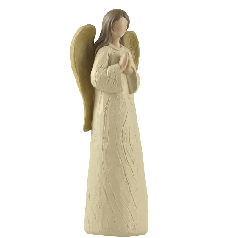 HOT SALE Wood Textured Resin Praying Angel WIth Wings Little Angels Home Decoracion