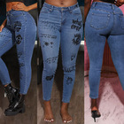 Hot Selling Ladies Stretch Fashion Painting Skinny Jeans Women 2020 Denim Trousers Wholesale Washed Jeans