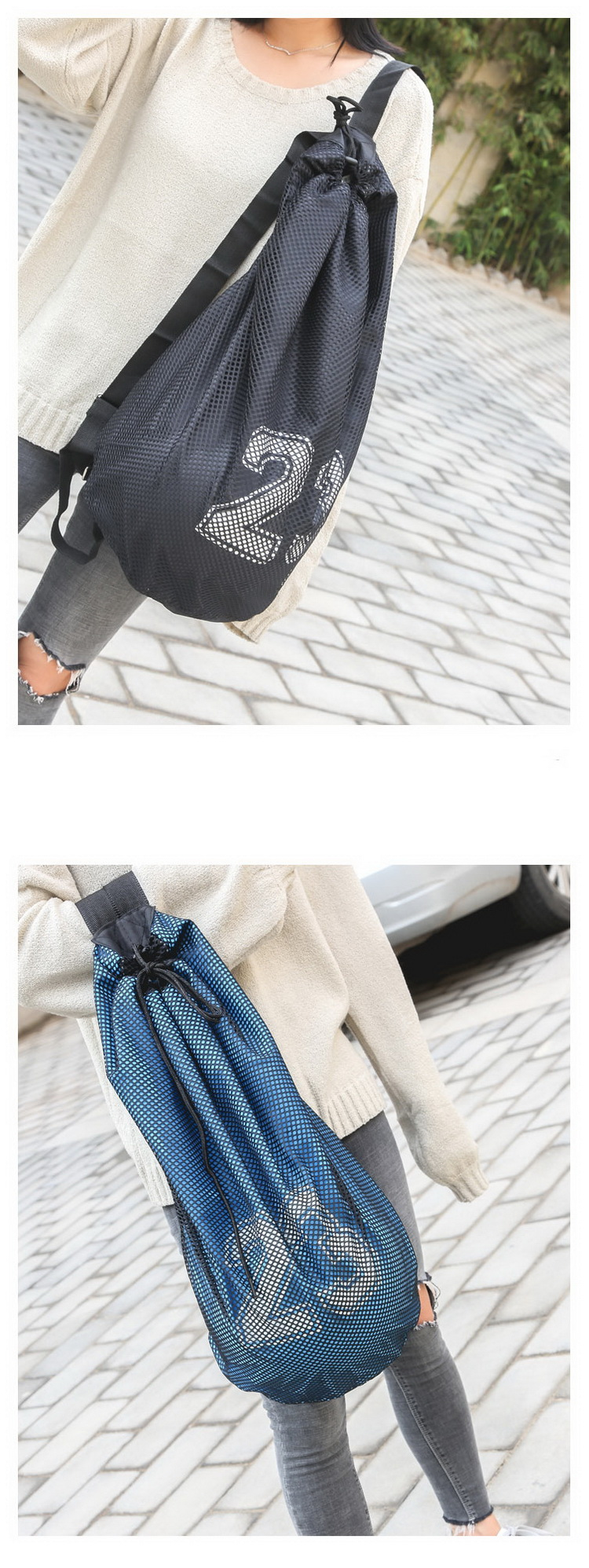 Football volleyball soccer storage mesh bag fitness bucket bag outdoor Basketball sports bags for men