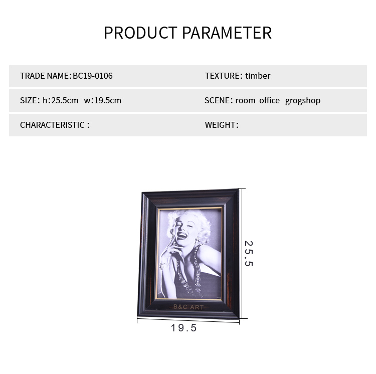 Modern Black Gold Lip 5X7 Picture Frames Wood for Table Top
