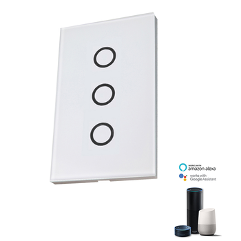 Wifi Smart Touch light switch 3 gang US Standard Socket Remote Controlled by tuya smart life
