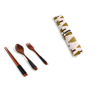 ECO Friendly Reusable Travel Portable Wooden Utensil Flatware Cutlery Set With Pouch