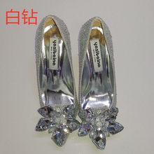 Новинка; Обувь Золушки со стразами; Пикантные женские туфли на каблуке с острым носком для невесты; Женские свадебные туфли на высоком каблу...(China)