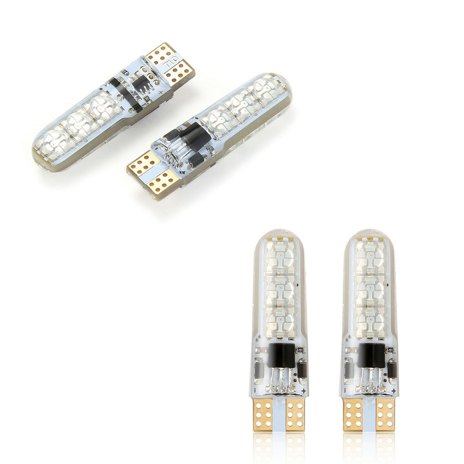 2X Wedge Light T10 W5W RGB LED Bulb DC12V 5050 6SMD Strobe Flash Car Interior Decorative Lights For Auto Remote Control Lighting
