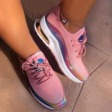 Новые кроссовки, женская повседневная обувь, сетчатые, с воздушной подушкой, на плоской подошве, противоскользящие, женские кроссовки, для у...(Китай)