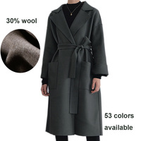 Simple and elastic woven fabric styling sense lapel thickened pure color 30% wool coat coat islamic clothing tunics
