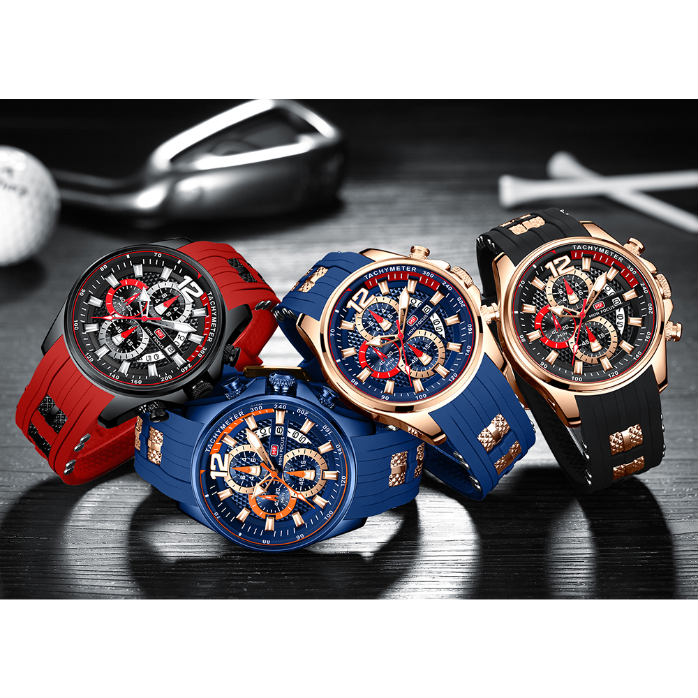 Mini Focus Men's Watches Waterproof Chronograph Sports Wrist Watches for Men with Silicone Strap Relojes De Hombre, Black brown blue