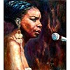 Jazz Musician African American Woman Singer Nina Simone Miniature Portrait Painting & Calligraphy