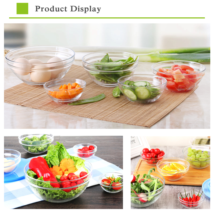 Cheap price food storage mixing glass bowl set with lid