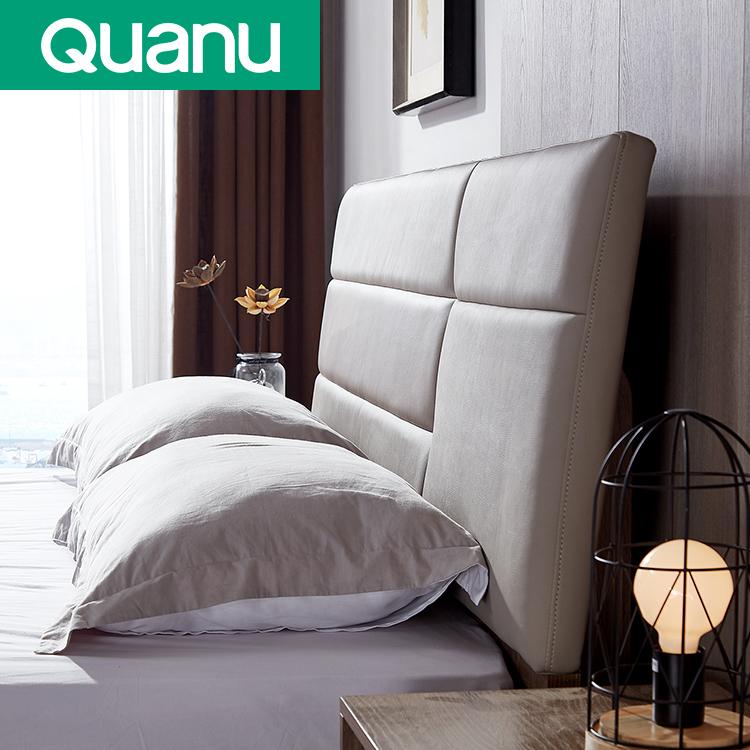 Light luxury leather headboard double size board bed bedroom furniture set
