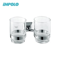 Factory Selling Bathroom Accessory Simple Glass Cups Double Tumbler Holder