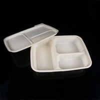 Sugarcane biodegradable lunch box 3 compartment