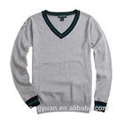 custom fashion spring black/grey cotton school boys long sleeves v-neck collar knitting pullover sweaters