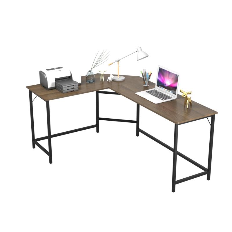 Industrial home furniture l-shape corner writing table wood metal frame l shape  pc computer desk table
