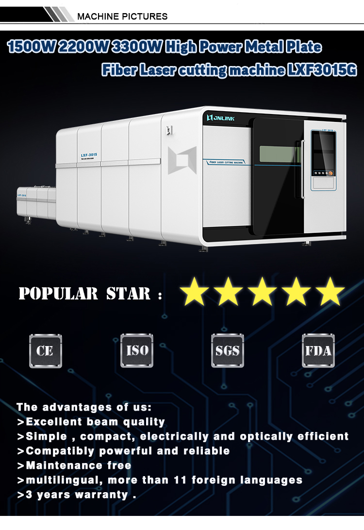 500W 1500W 2200W 3300W  Metal plate fiber laser cutting machine 3015 with protective cover price