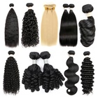 Hair Deep Extension Hair Extension Grade 10A Virgin Hair Deep Wave Bundles Popular Curly Human Hair Bundles 8-30inch Double Drawn Hair Extension
