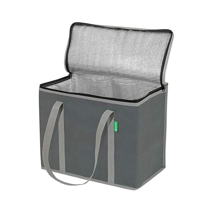 Venta al por mayor entrega de alimentos gran lavable eco aislado freezable bolsa nevera frío térmica almuerzo bolsa
