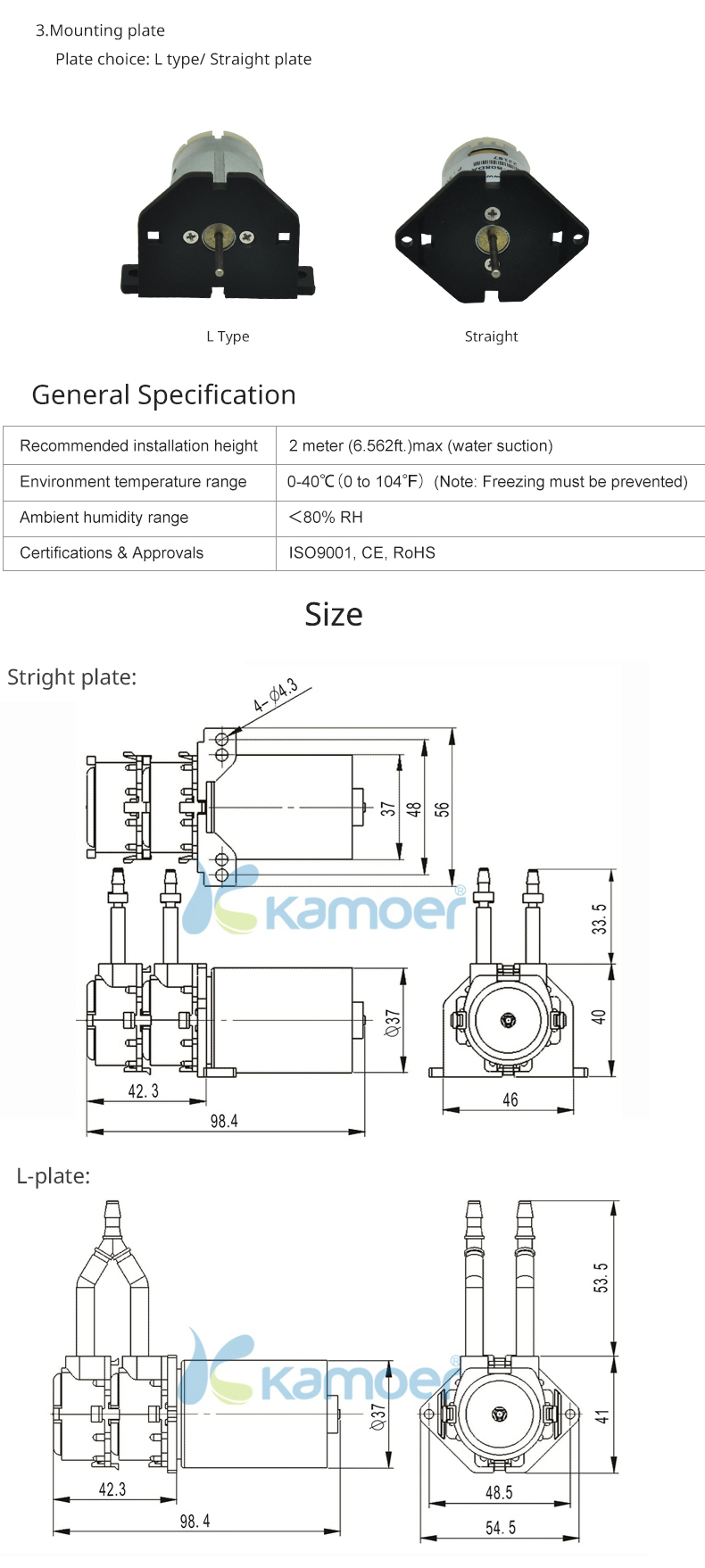 Kamoer 12v 24v liquid water pump,double head peristaltic pump price