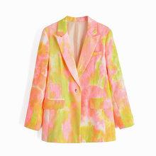 [DEAT] Женский блейзер контрастного цвета с галстуком-краской, новая свободная куртка с лацканами и длинным рукавом, модная демисезонная курт...(Китай)