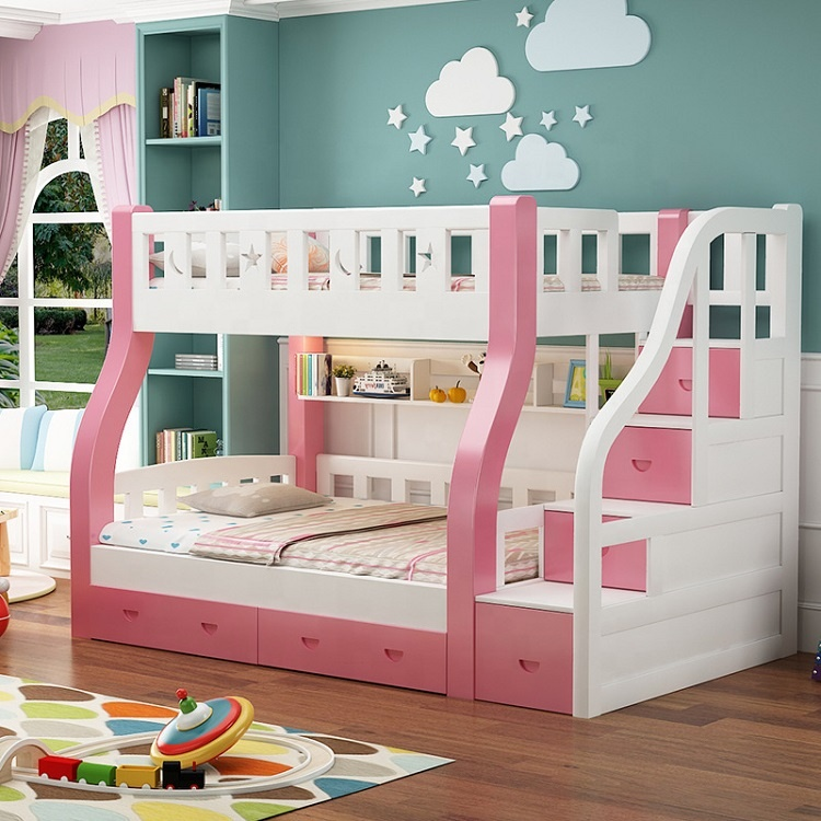 Amazon Colorful Latest Smart Modern Design Solid Wood <strong>Bed</strong> Furniture Children Double Bunk <strong>Beds</strong> with Storage Drawer or Ladder