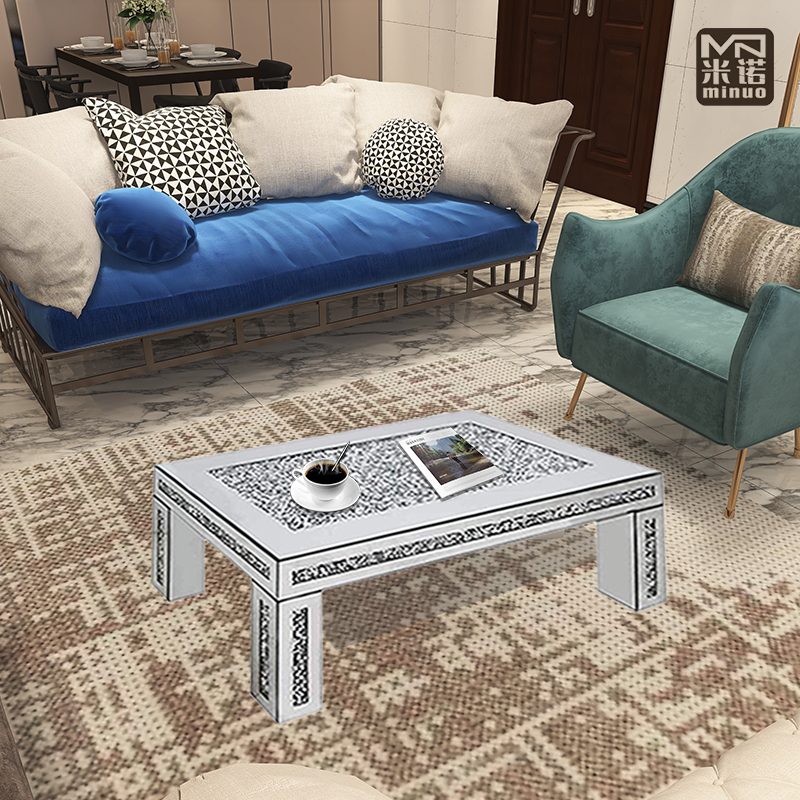 Modern Silver Mirrored Coffee Table Crushed Diamond Insert Rectangle Center Living Room Furniture