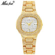 MISSFOX Золотые женские часы роскошные стильные бриллиантовые квадратные наручные часы браслет из нержавеющей стали ледяные часы ювелирные и...(Китай)