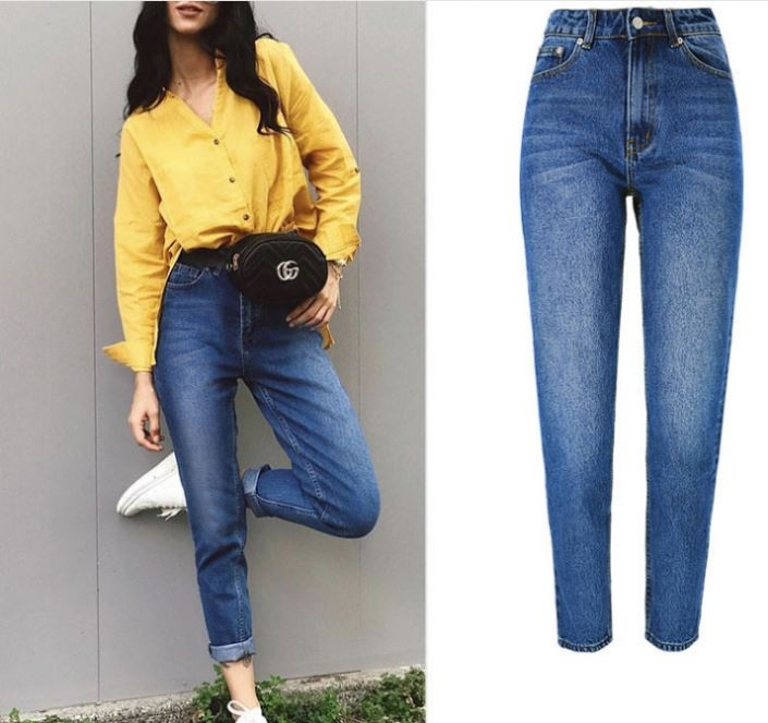New arrival design ladies loose straight denim pant casual femme high waist jeans woman