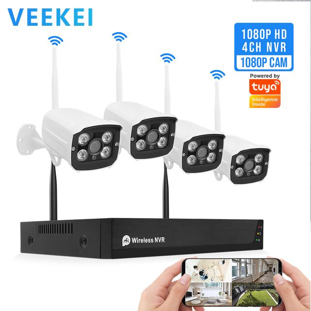 Veekei H.265 Home Securityระบบ4CH Wifi P2Pไร้สาย2mp Ipกล้องชุดจีน