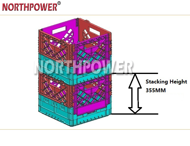 Heavy Duty 16 Foldable quart Folding Milk Crate