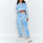 Top Hoodie Tie Dye Hoodie Set Fashion Streetwear Women Tracksuit Jogger Tie Dye 2 Piece Custom Ladies Crop Top Hoodie Set