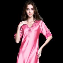 Женское сексуальное нижнее белье, шелковая ночная рубашка, летнее платье, кружевное Ночное платье, ночное белье, ночная рубашка из сатина, д...(Китай)