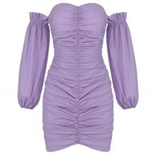 Сексуальное Фиолетовое мини-платье с длинными рукавами для женщин(Китай)