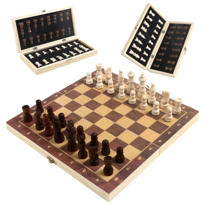 High quality international chess sets with folding chess board wholesale Chinese traditional indoor chess games for adult