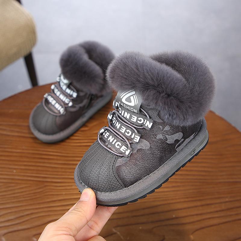 2020 חורף ילדים חדשים בתוספת קטיפה חם כותנה מרופדת נעלי בני בנות חם שלג מגפי אופנה תינוק ילדים מסמרות מגפיים