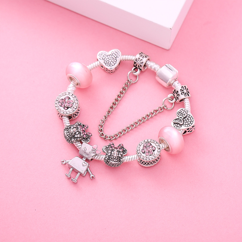 Hot Sale Shiny Crystal Bangle Bracelets Mickey Strings Adorning Cute Robot Pendant Bracelet Pandora Charm Bracelets