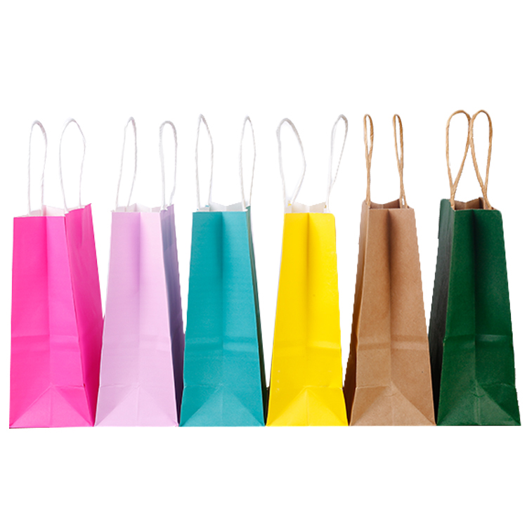 High Quality plain cheap brown/black kraft paper bags with twisted handles for cafe/bookstore