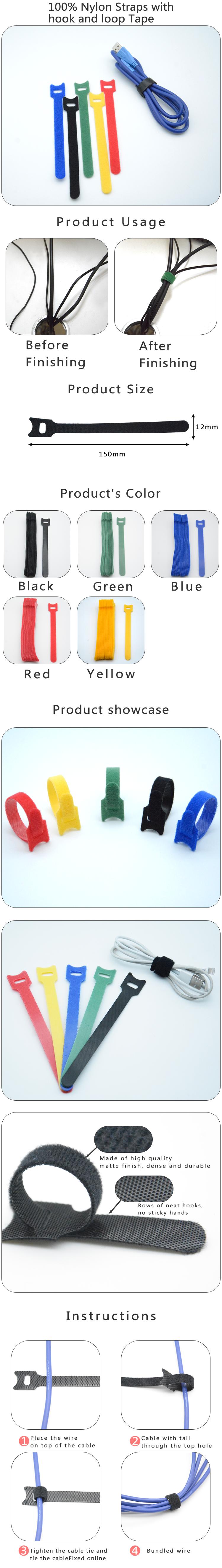 Custom logo printed colorful adjustable hook and loop cable ties