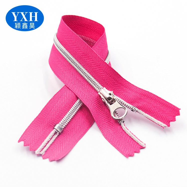 Custom clothing household goods 3#4#5# closed silver nylon long chain auto lock zipper