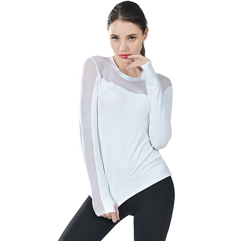 Camisetas mujer, Gym Wear Clothing Long Sleeve T Shirt Fitness Yoga Crop Top