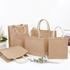 Wholesale Custom Printing Logo Natural Gunny Eco Friendly Jute Tote Bag Recycle Foldable Jute Shopping Bag