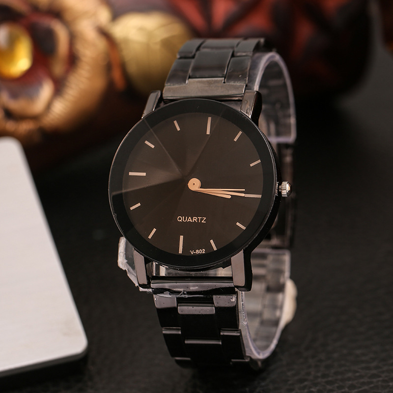Top Plaza His and Hers Valentine's Day Gift Couple Watch Full Black Brown Bracelet Watch Simple and Elegant Design wristwatches
