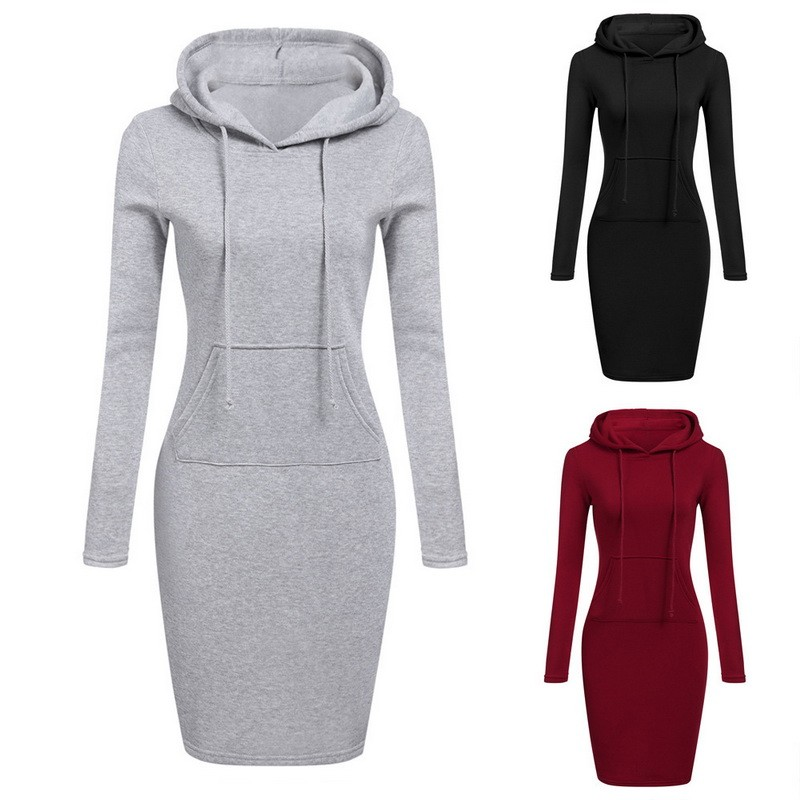 LITTHING 2019 Mode Hooded Trekkoord Fleeces Womens Jurken Lente Herfst Warm Jurk Dames Vestidos Hoodies Sweatshirt Jurk