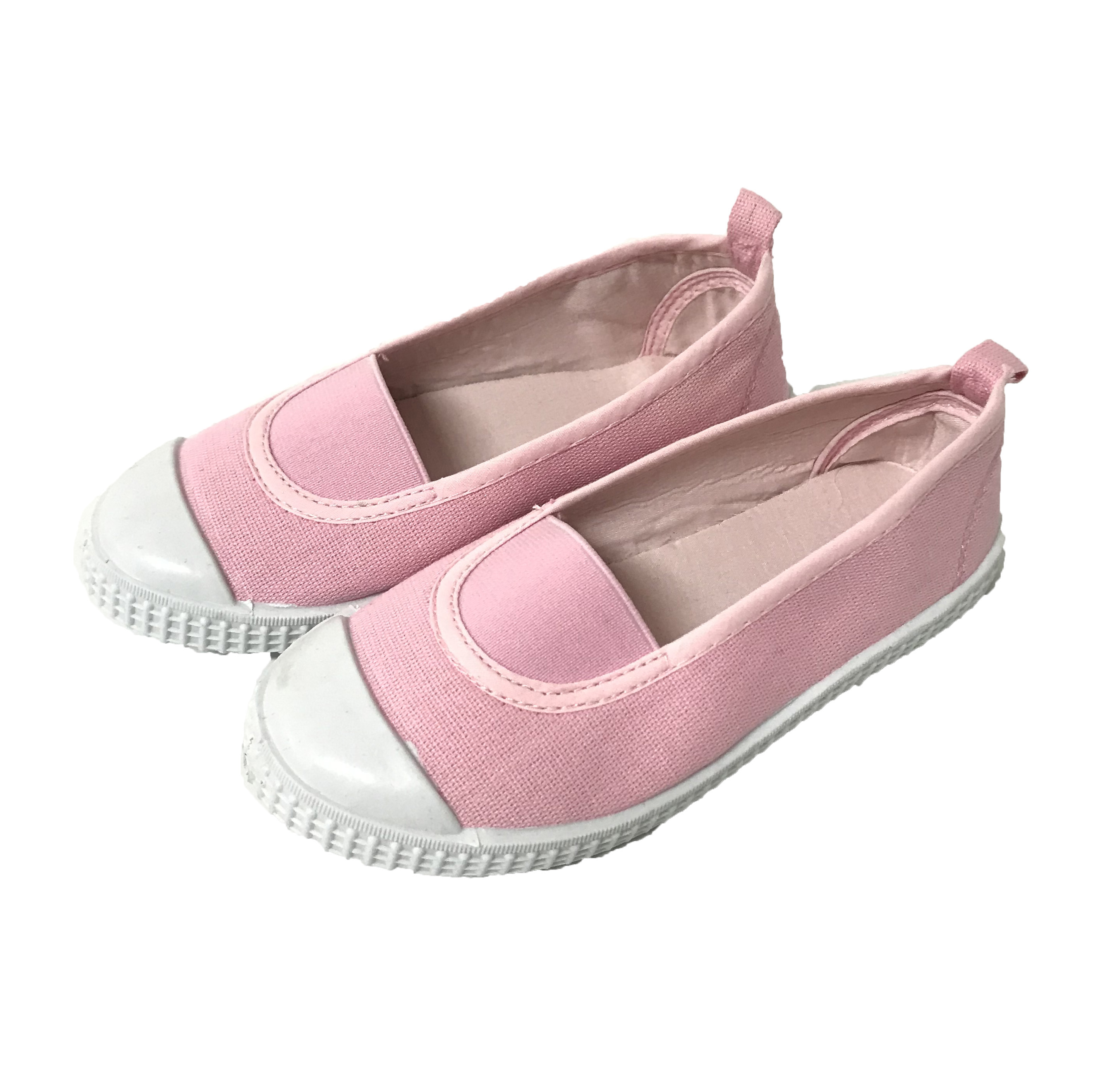 pink elastic girls canvas flat white outsole slip on PVC casual shoes