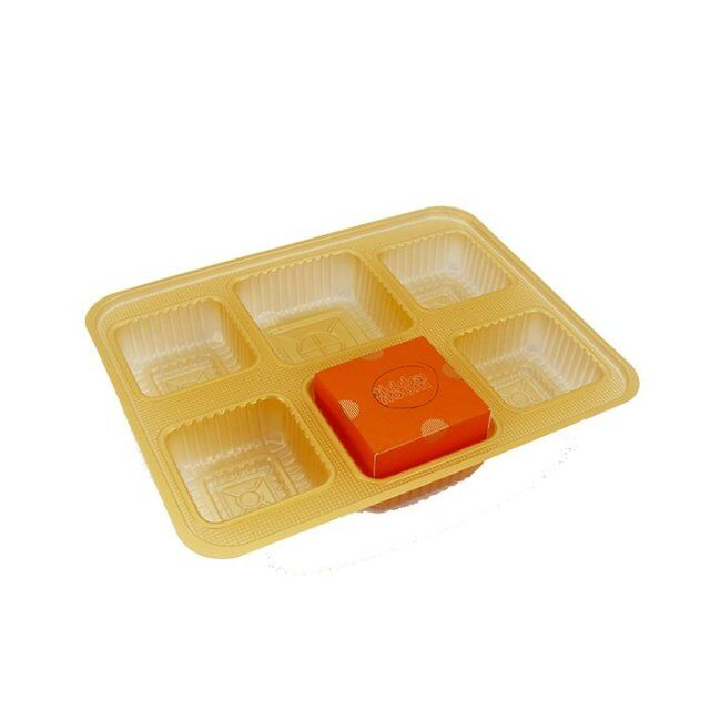 Custom golden PET moon cake candy plastic mini cupcake insert tray