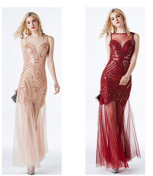 Flapper Dresses 1920s Gatsby for Women Prom Dress Roaring 20's Sequin Maxi Dress with Mesh Sexy V Neck Pink Black Red